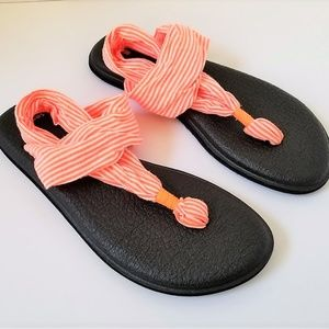 SANUK Yoga Sling Sandals Orange & White Stripe 7